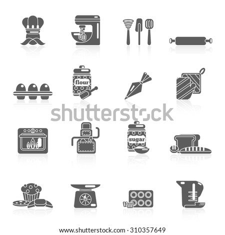 Bakery icon black set with bread cakes flour pastry isolated  illustration. - stock photo