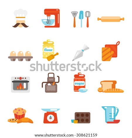Bakery icon flat set with bread cakes flour pastry isolated  illustration - stock photo
