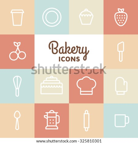 Bakery icon set. Kitchen tools background. Cake, cherry, cup, spoon, strawberry, plate, apple, cupcake on white background.