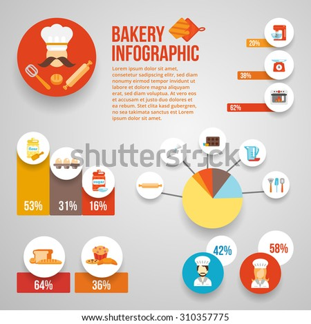 Bakery infographics set with food cooking equipment and charts  illustration - stock photo