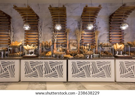 Bakery product assortment with bread - stock photo