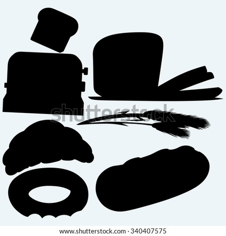 Bakery products: bread, loaf, croissant, bagel, ears of wheat and a toaster with toasted slice of bread. Isolated on blue background. Raster silhouettes - stock photo