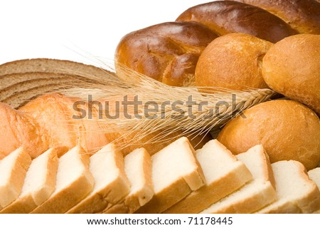bakery products isolated on white background - stock photo