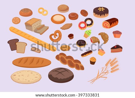 Bakery products set flat design. Bread and bakery, bakery shop, cake and baking, pastry cupcake, bakery products, roll and donut bakery, product bakery, food bakery, breakfast bakery illustration