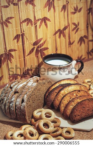 Bakery products with milk. Fresh bread.  - stock photo