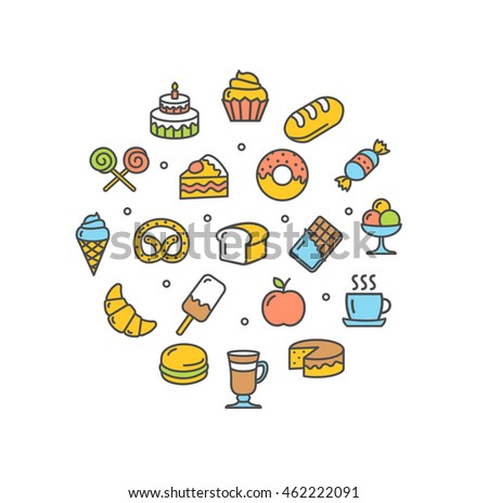 Bakery Round Design Template Thin Line Icon Set Isolated on White Background. illustration