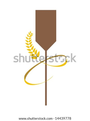 Bakery Spoon and Wheat on white background - stock photo