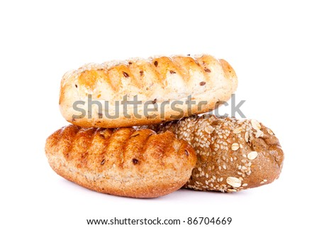 bakery with seeds: poppy, rye, sesame, flax... ( isolated on white background)