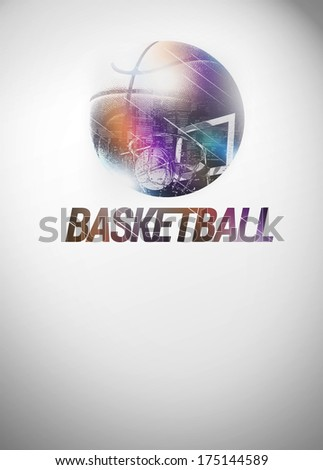 Baketball sport invitation poster or flyer backgraound with space - stock photo