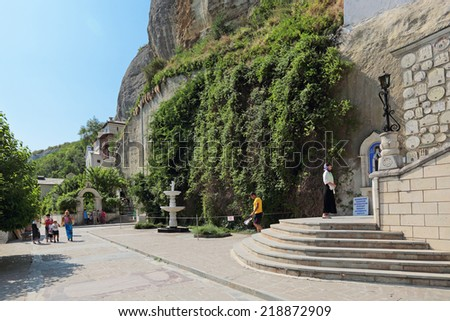 BAKHCHISARAY, REPUBLIC OF CRIMEA, RUSSIA - AUG 12, 2014: Male Assumption Monastery of the Caves, indoors. Unique Orthodox monastery dug into the rock - stock photo
