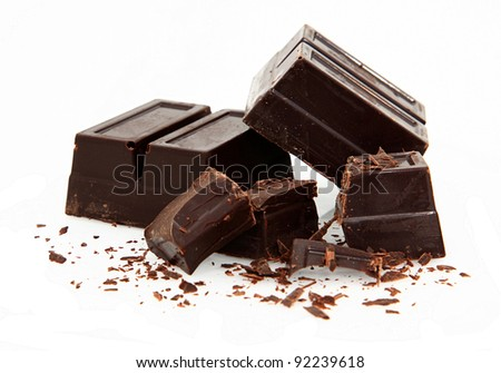 Baking Chocolate Isolated On White Background - stock photo