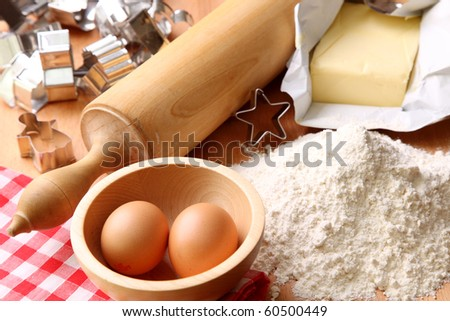 Baking cookies, ingredients for cakes - stock photo