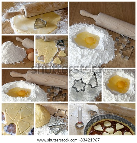 baking cookies - the collage - stock photo