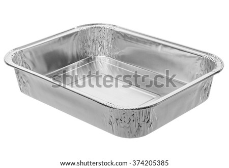 Baking dish from a foil on white - stock photo