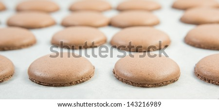 Baking French Macaron chocolate flavored cookies - stock photo
