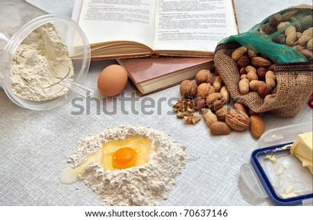 Baking fresh dough background - stock photo