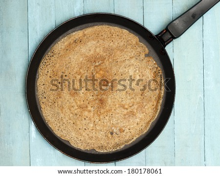Baking Healthy Buckwheat Crepes - stock photo