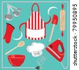 Baking icons and elements. Great for a baking party invitation - stock photo