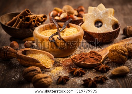 Baking ingredients and spices for Christmas cookies