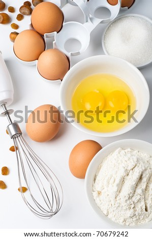 Baking ingredients closeup - stock photo