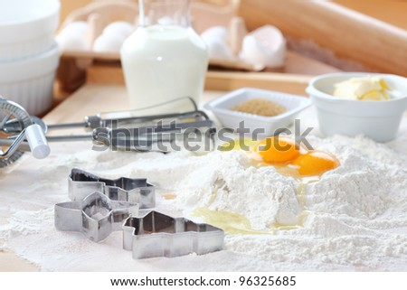 Baking ingredients for cake, pastry or cookies - stock photo
