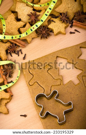 Baking ingredients for Christmas cookies and gingerbread - stock photo
