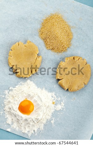 Baking ingredients for shortcrust pastry - stock photo