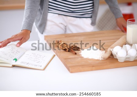 Baking ingredients for shortcrust pastry and plunger - stock photo