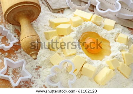 Baking ingredients for shortcrust  pastry, close up - stock photo