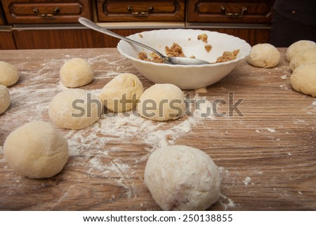Baking ingredients on a wood table for dumpling - stock photo