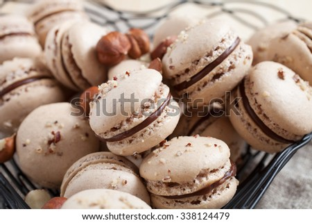 Baking macaroons with nuts and chocolate - stock photo