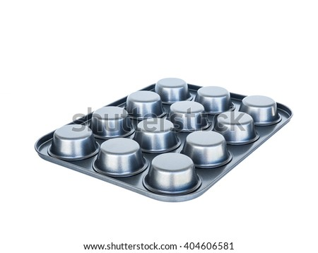 Baking muffins tray 12th hole. non-stick coating. isolated on white.