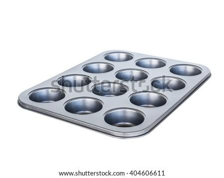 Baking muffins tray 12th hole. non-stick coating. isolated on white. - stock photo