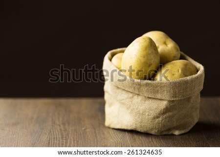 Baking potatoes in a hessian sack - stock photo