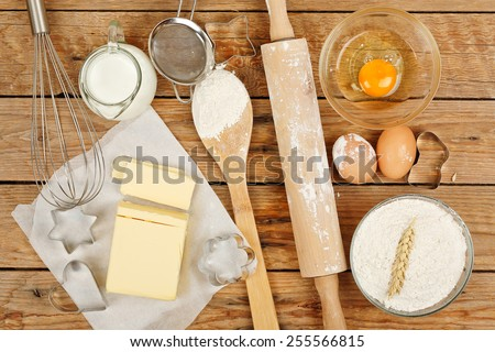 baking preparation, top view of a variety of baking utensils and ingredients