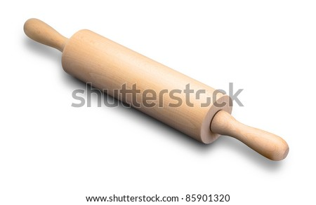 baking rolling pin and flour on white background - stock photo