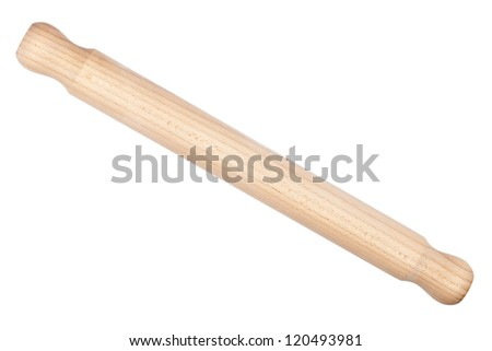 Baking rolling pin and on white background - stock photo