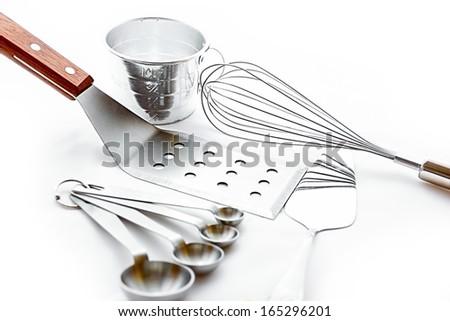 Baking tools isolated on white background high-key image. - stock photo