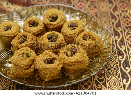 Baklava or Bulbul's nest- arabic sweet. - stock photo