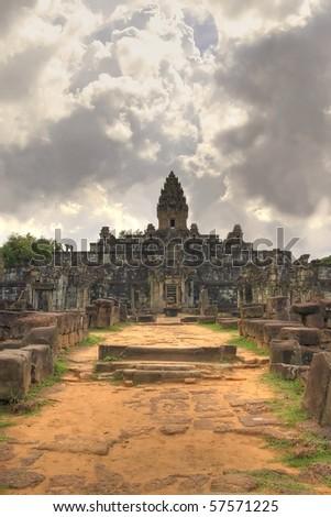 Bakong Temple of Roluos at Angkor Siem Reap Cambodia - stock photo