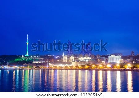 Baku Azerbaijan at Caspian sea-  night photo - stock photo