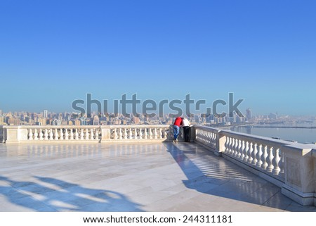 Baku, Azerbaijan - December 27, 2014:.Date at Highland Park - stock photo
