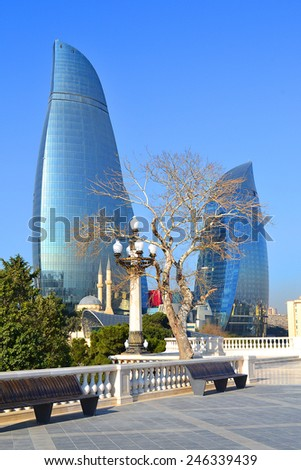 Baku, Azerbaijan - December 27, 2014: Flame Towers  view from the Highland park