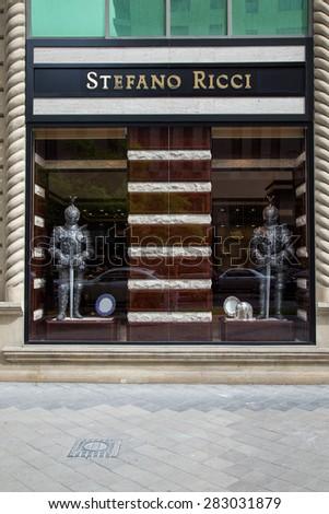 BAKU, AZERBAIJAN May 10 2015: Facade of Stefano Ricci flagship store in Baku on May 10 2015.   - stock photo