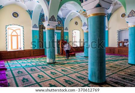 Baku, Azerbaijan - September 26, 2015: The interior of the mosque Heydar cuma mascidi. Built in 1893 - stock photo