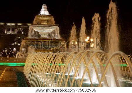Baku fountain square at night, Azerbaijan - stock photo