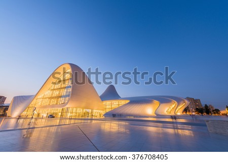 BAKU- JULY 20: Heydar Aliyev Center on July 20, 2015 in Baku, Az - stock photo