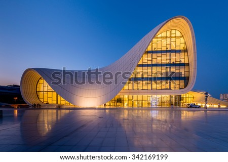 BAKU- JULY 20: Heydar Aliyev Center on July 20, 2015 in Baku, Azerbaijan. Heydar Aliyev Center won the Design Museum's Designs of the Year Award in 2014 - stock photo