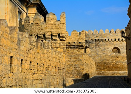 BAKU - OCTOBER 1 : City wall at 1 October 2015 in Baku, Azerbaijan. Baku's old city is surrounded by a thick, medieval wall. - stock photo
