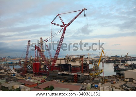 BAKU - OCTOBER 1 : Construction at the harbour at 1 October 2015 in Baku, Azerbaijan. baku's harbour is planned to be the largest at the Caspian region after it is completed. - stock photo
